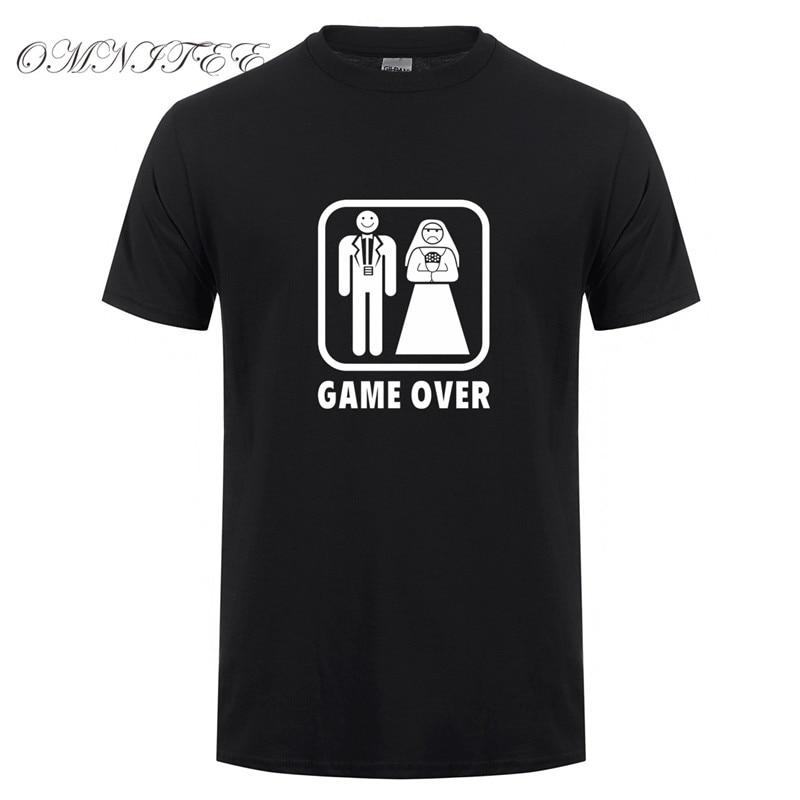 Летние футболки для брака с надписью «Game Over», новинка, забавная Мужская футболка с коротким рукавом, хлопковая забавная Мужская футболка для свадьбы, верх