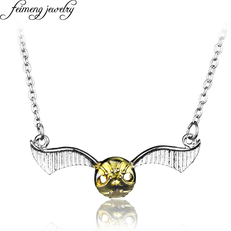 feimeng jewelry Magic Movie Quidditch Golden Snitch Necklace Silvery Fly Wings Pendant Necklace For Women And Men Fashion Gifts