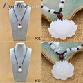 Hand Carved Natural White Jade Snow Lotus Flower Beads Pendant Chain Necklace