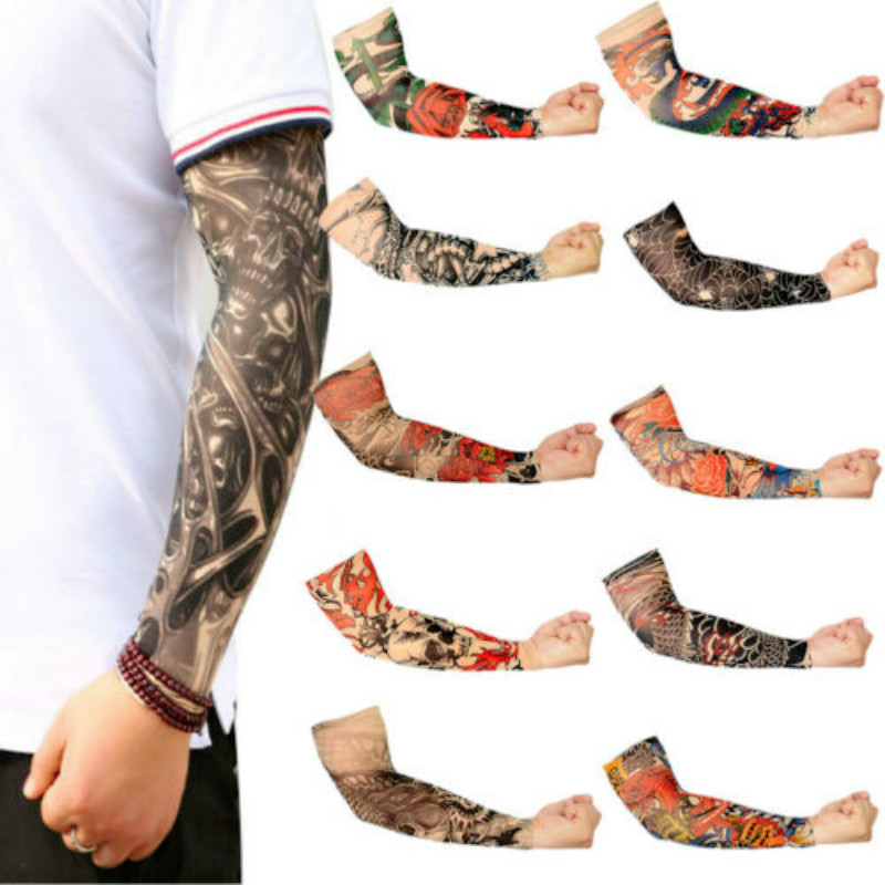 Hot Cakes Men Skeleton Fake Tattoo Nylon Elastic Arm Sun Protection Sleeve Cycling Sports