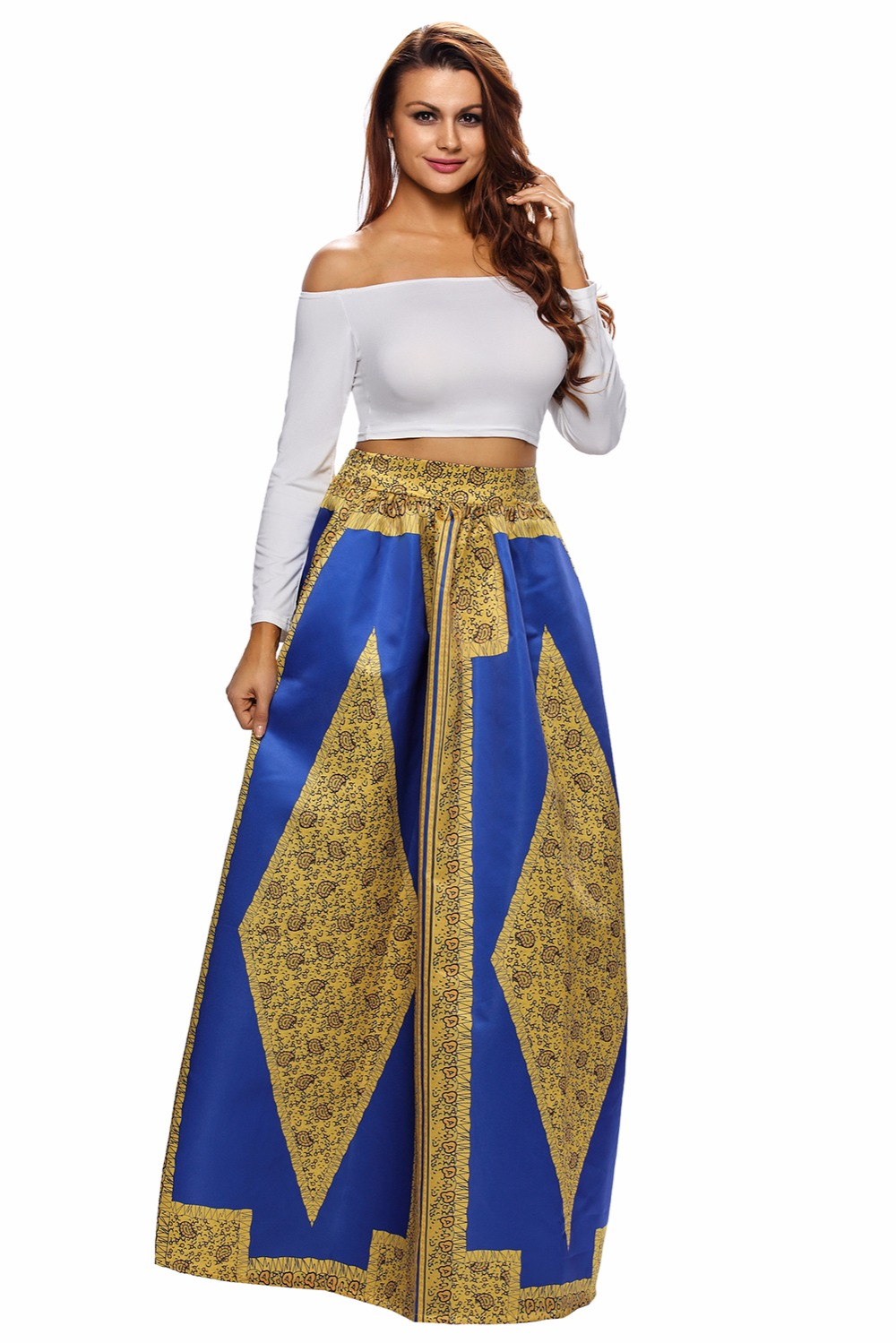 Long Skirt Women 2XL Plus Size Yellow Blue African Print Maxi Skirt Long Skirt vestido longo vintage skirt cheap clothes china