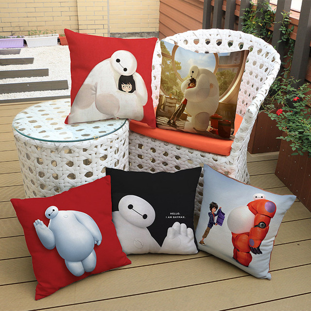 White Big Hero Cushion Super Marines Cartoon Cotton Linen
