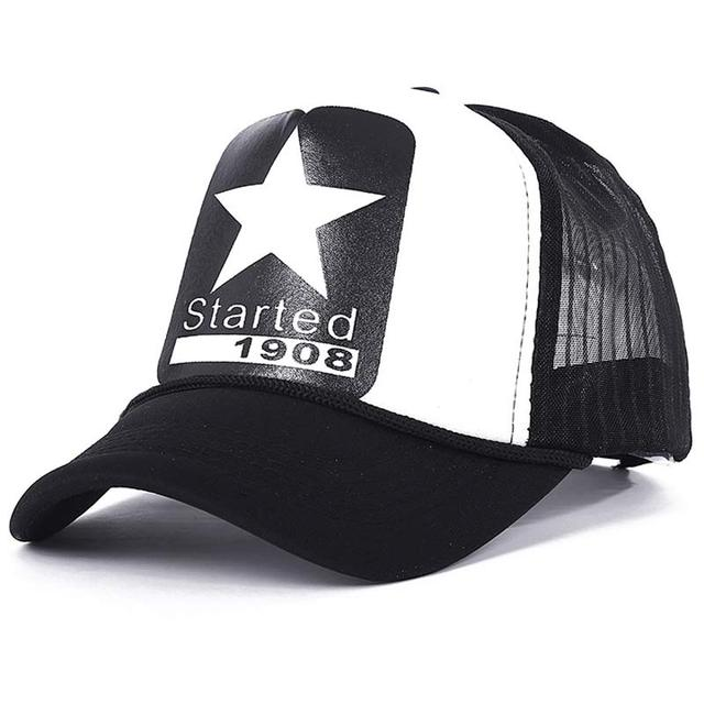 new Summer adjustable men's mesh trucker cap star pattern yellow red white in stock 4