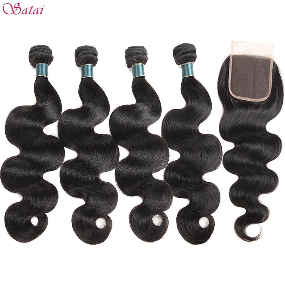 SATAI Body Wave Human Hair Bundles with Closure Natural Color 4 Bundles With Closure Brazilian Hair