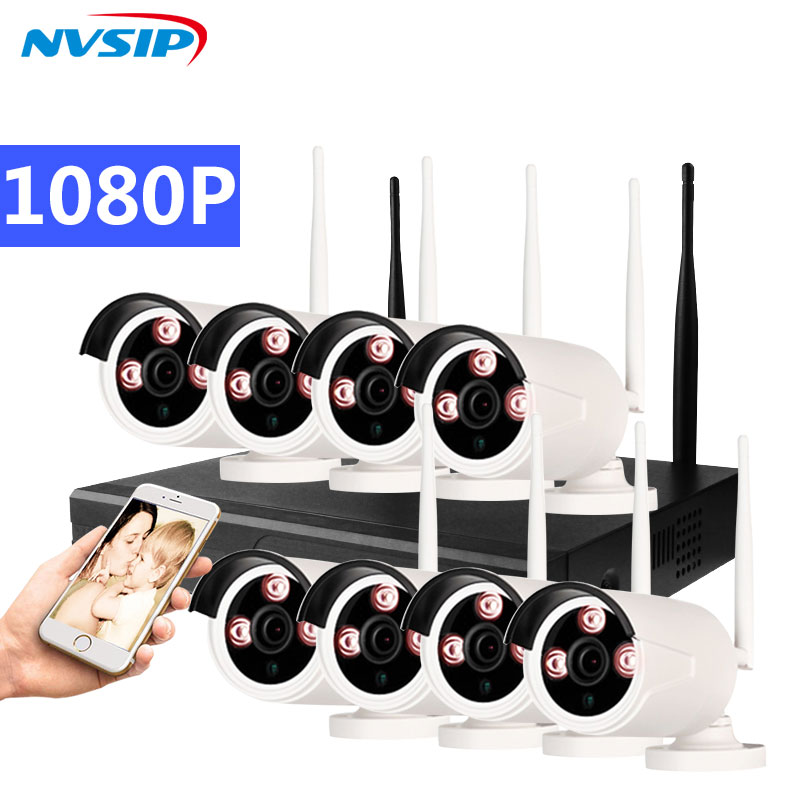 8CH 1080P Wireless NVR Kit Wifi CCTV System 8PCS 2MP Outdoor Security IP Camera P2P Remote View Video Surveillance Set image