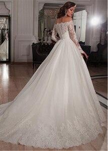 Image 3 - Elegante Tüll Off die Schulter Ausschnitt Ballkleid Brautkleider mit Spitze Appliques Strass Perlen Gürtel Brautkleider