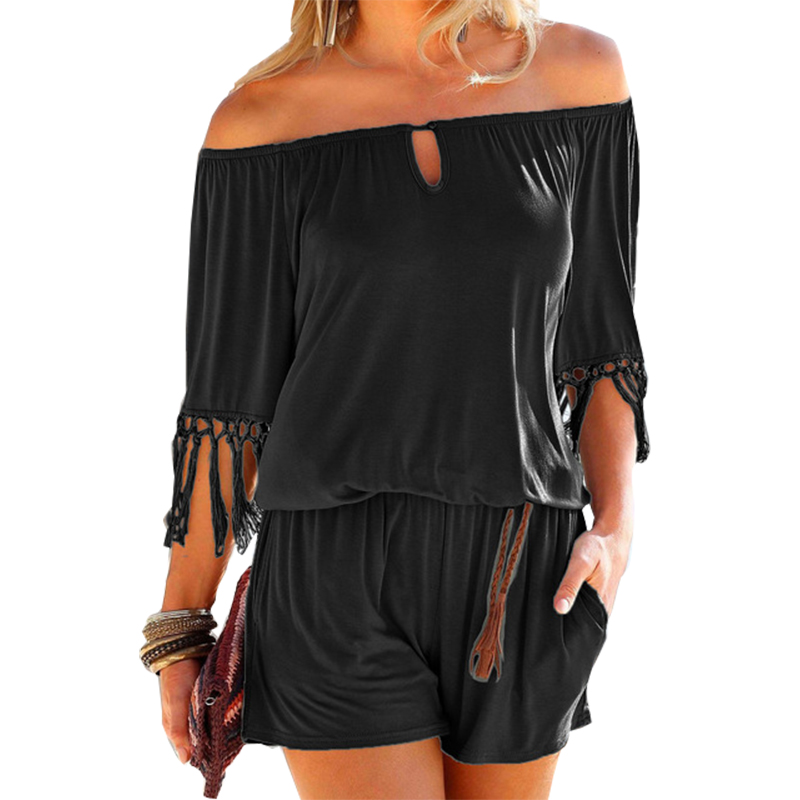 Casual Women Summer Playsuits Sexy Slash Neck Tassel Beach   Jumpsuits   Shorts Overalls Boho Girls Pockets Rompers XXL GV923