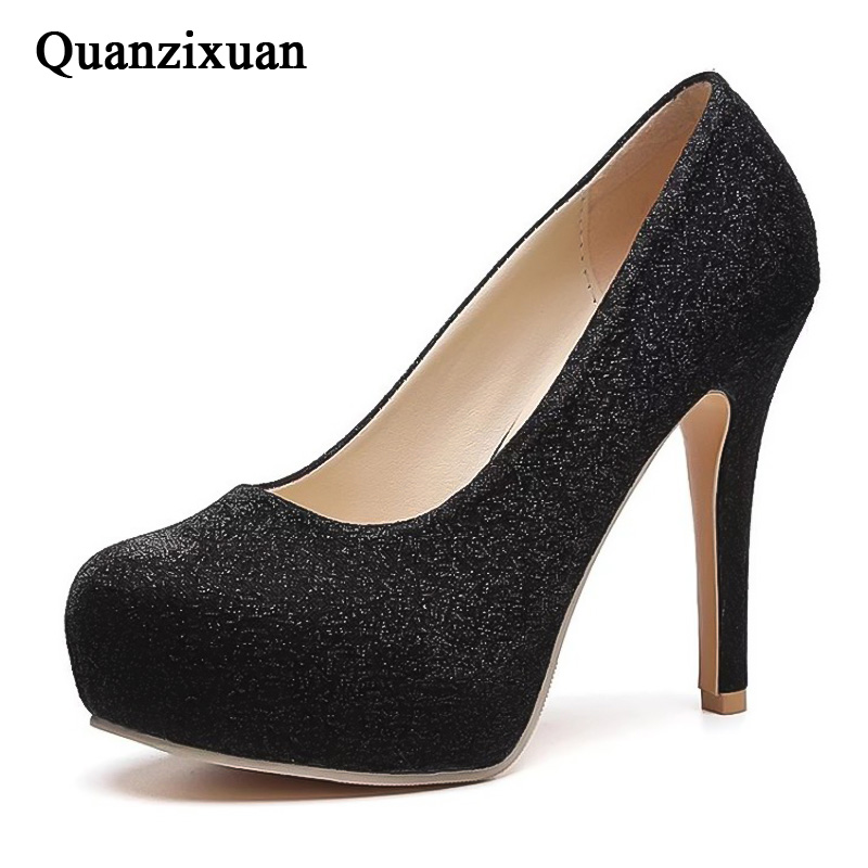 Quanzixuan Platform Pumps Shoes Women Pumps Fashion Bling Wedding Shoes Extreme High Heels Ladies Shoes Black Women Heeled Shoes