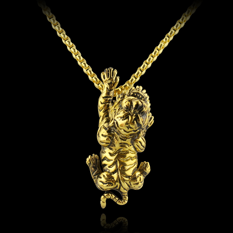 Tiger Necklace 3D Gold Tiger Charm Necklace Personalized ...