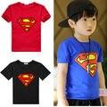 2016 nuevo estilo lindo del Algodón 2-7años Niños Niños Superman Camiseta Niños de Manga Corta Camiseta Traje de prendas de vestir