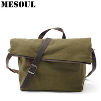 Vintage Crossbody Bag Military Canvas Shoulder Bag New Arrivals Casual Tote Men Travel Bags Dark Gray