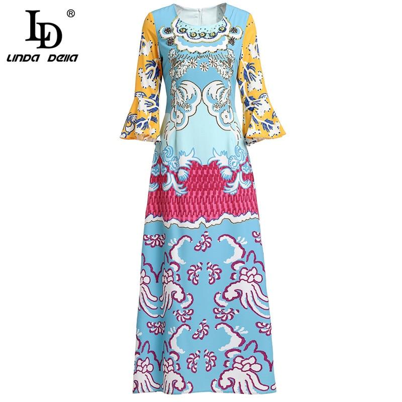 LD LINDA DELLA 2019 Mode Designer Runway Frühling Kleid frauen Flare Hülse Gedruckt Perlen Lange Casual Urlaub Kleid-in Kleider aus Damenbekleidung bei  Gruppe 1