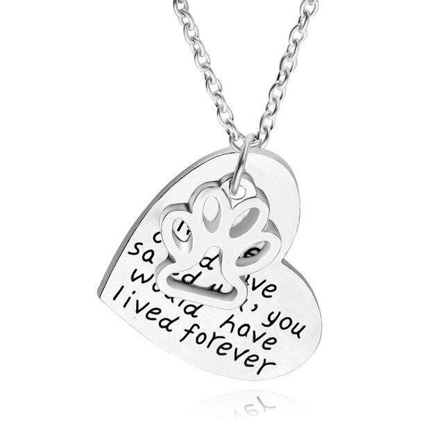 """20 шт./упак. кулон В форме Сердца текст собака следы Ожерелья """"если любовь могла бы спасти тебя, вы жили бы foever"""""""