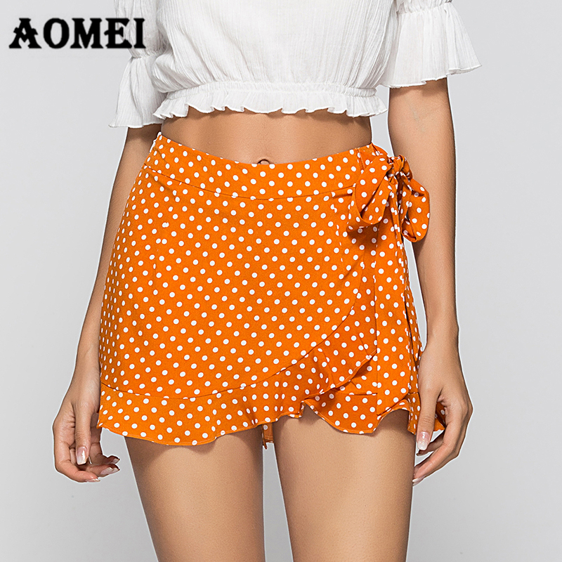 Girls   Shorts   Wrap Skirts Summer Mini Culottes   Shorts   Hotpants Boho Polka Dot Waist Belt Vacation Casual Women Fashion New Skorts