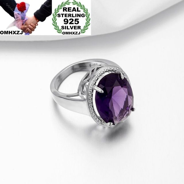 OMHXZJ Wholesale European Fashion Woman Man Party Wedding Gift Silver Purple Oval Amethyst 925 Sterling Silver Ring RR06