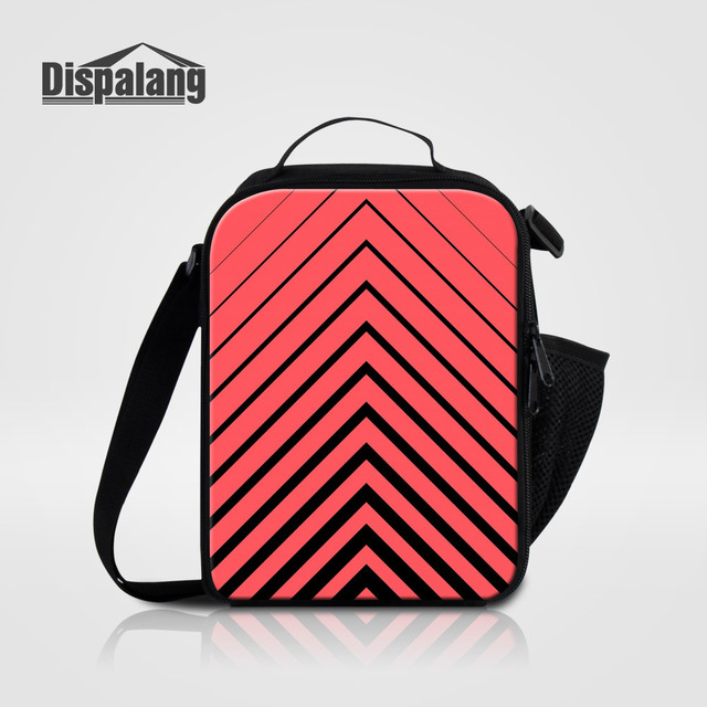 Us 16 97 32 Off Aliexpress Com Buy Dispalang Personalized Lunch Bags For Women Striped Custom Lunch Bag For Students Meal Food Lunchbox Adults