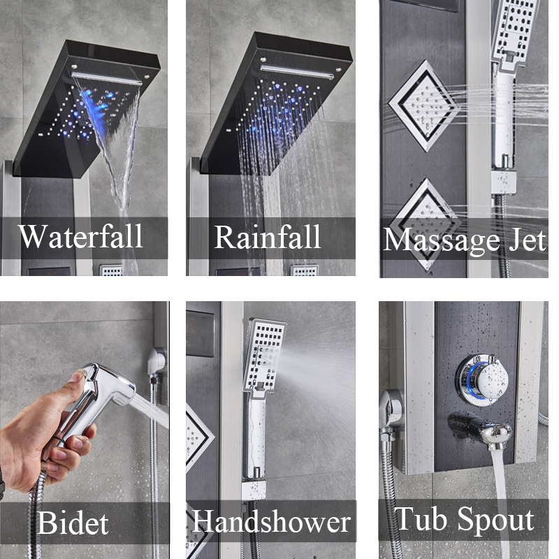 Bathroom Fixtures Beautiful Russain Promotion Bath Shower Column Rain Waterfall Shower Panel Mixers Rotate Body Massage Jets Shower System
