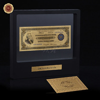 WR Birthday Decoration Items American 1918 Year Currency Bill Note 24k 999.9 Gold Plated Banknote with Showing Stand 1:1 Size