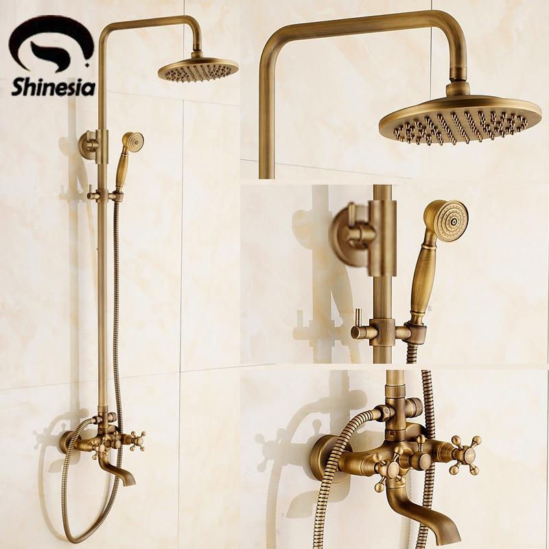 Newly Vintage Antique Brass Shower Faucet Set Rainfall Shower Head W/ Ceramics Hand Showe Retro Wall Mount newly vintage antique brass shower faucet set rainfall shower head w ceramics hand showe retro wall mount
