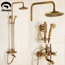 Newly Vintage Antique Brass Shower Faucet Set Rainfall Shower Head W/ Ceramics Hand Showe Retro Wall Mount