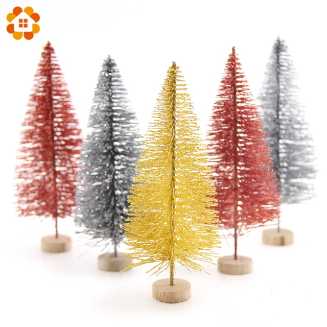 3pcs 13cm Christmas Tree Diy Gold Silver Red Small Pine Mini Trees Placed In The Desktop Home