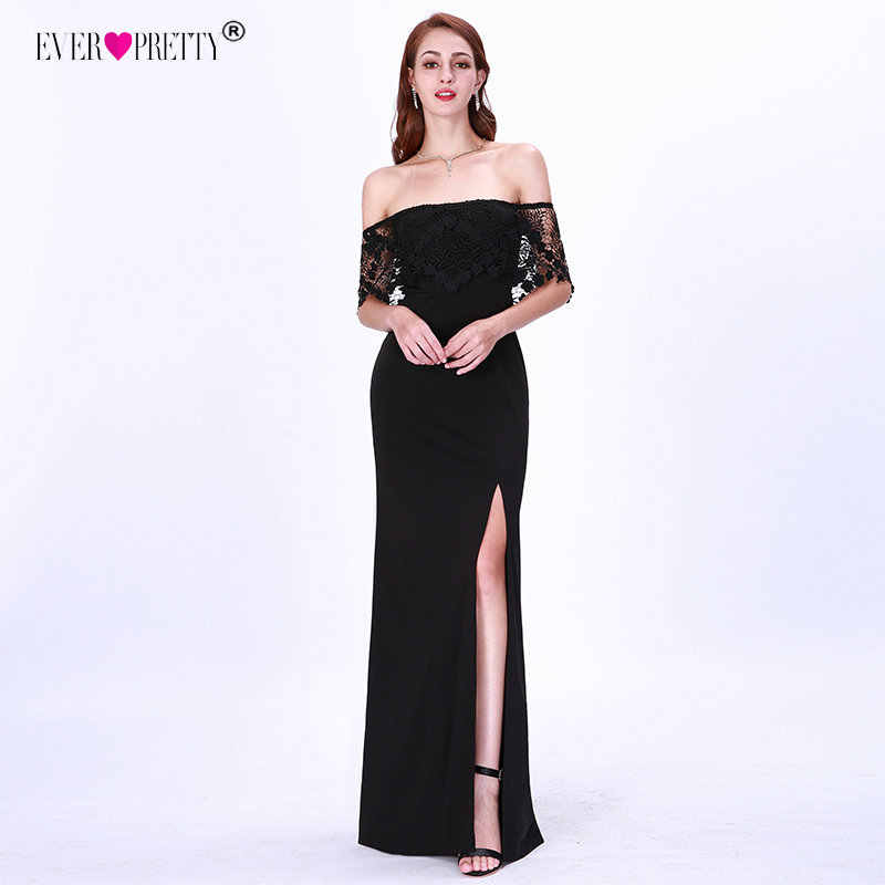 Preto vestidos de noite 2019 sempre bonito ez07699 elegante sereia rendas manga curta perna fenda sexy vestidos de noite robe de soiree