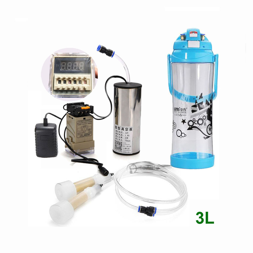 Electric Vacuum Milking Machine Kit 3L Vacuum Pump Timer Dual Head Bucket Farm Milker Barrel for