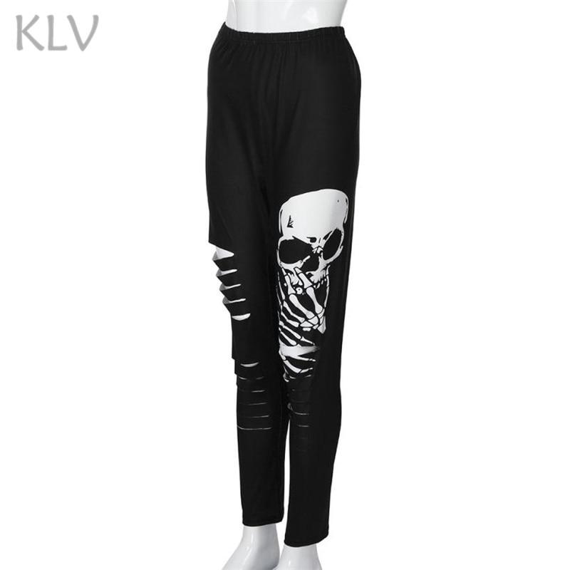 66877bb398a KLV 2019 Sport Leggings High Waist Pants Gym Running Training Tights Women  Plus Size Shredding Skulls Fitness Yoga Pants   F-in Yoga Pants from Sports  ...