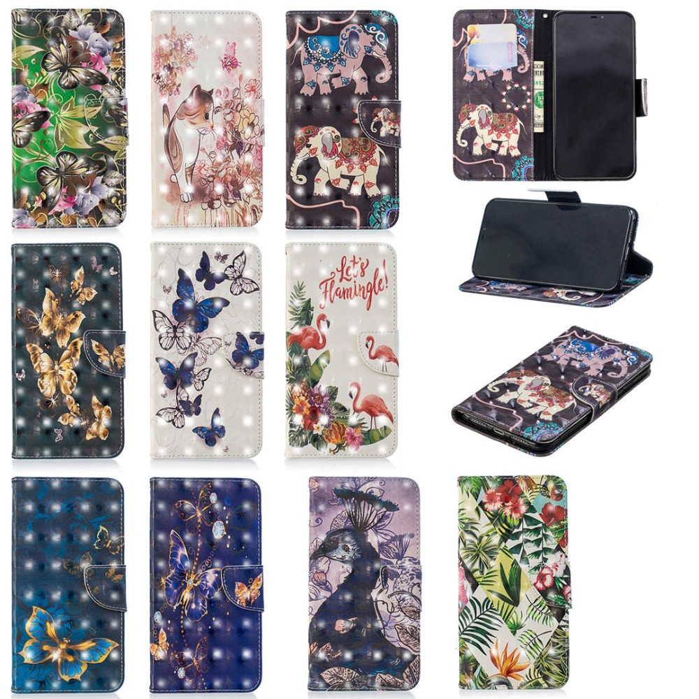 Flip Leather 3D Printed Phone Case For iPhone 7 Wallet Card Holder Stand Back Cover For iPhone XSMAX XR XS X 8 7 6 6S Plus Coque in Flip Cases from Cellphones Telecommunications