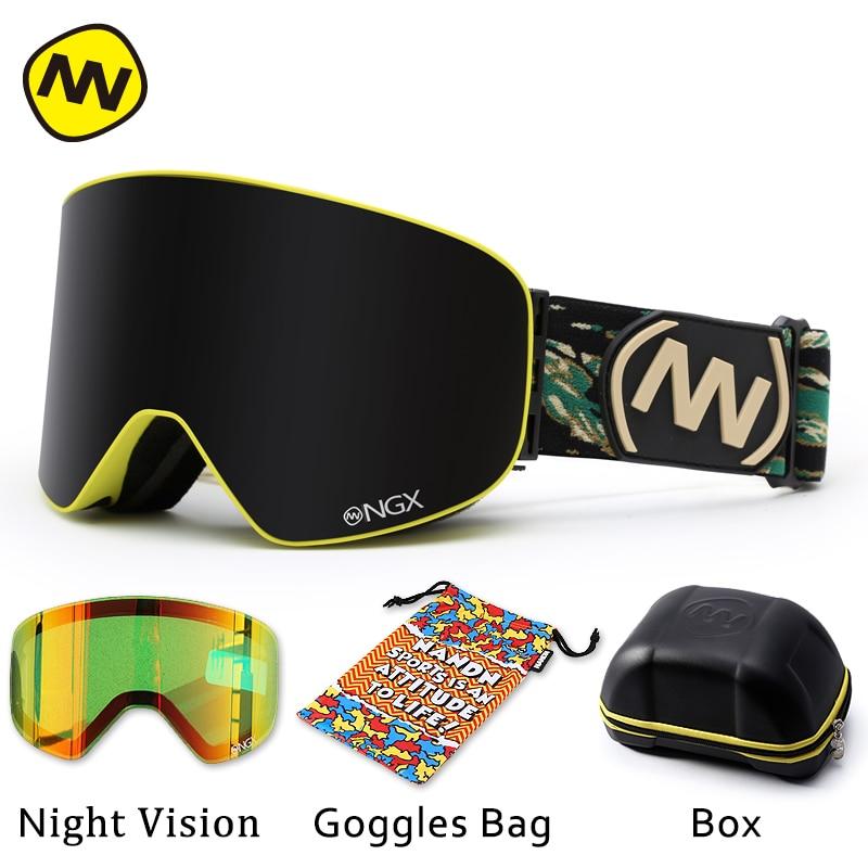 NANDN gogle narciarskie okulary narciarskie podwójne soczewki UV400 Anti fog snowboard dla dorosłych okulary narciarskie kobiety mężczyźni śnieg okulary w Okulary narciarskie od Sport i rozrywka na