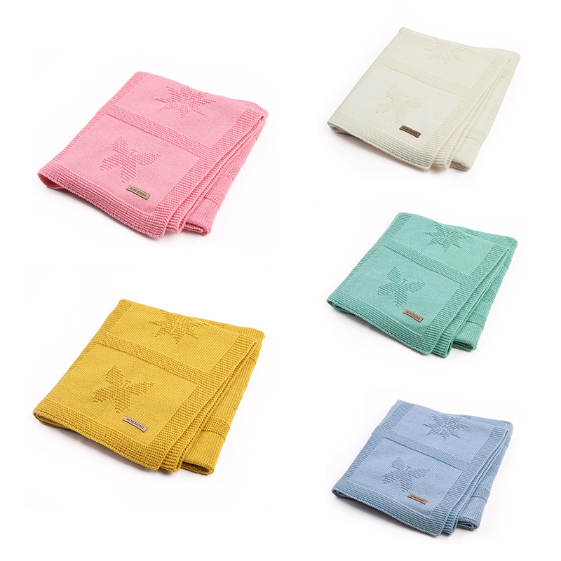 Baby Blanket Knitted For Newborn Soft Toddler Infant Kids Swaddling Wrap Bedding Blankets Solid Children Stroller Linens 95*75cm