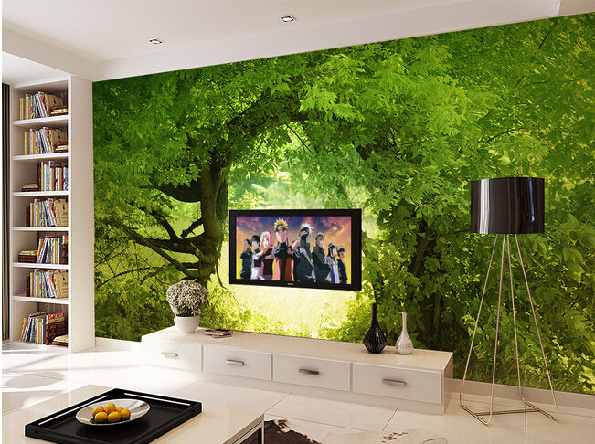 The custom 3D murals,fresh and green abstract landscape of the forest,living room sofa TV wall bedroom wall paper