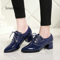 Women Thick Heel Pumps Fashipn Lace Up Pointed Toe Spring Fall Shoes Blue Wine Red Black
