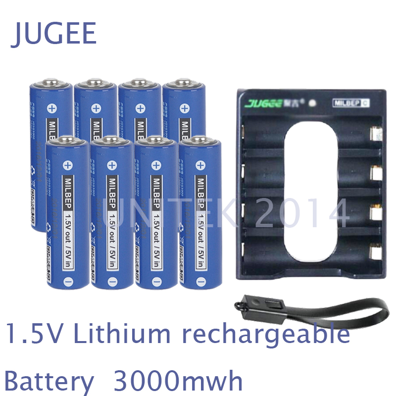 NEW 8PCS 1.5V AA lithium polymer rechargeable battery 3000mwh + 4 slots USB charger 2A li-ion cell replace Ni-Mh type Battery brown 3 7v lithium polymer battery 7565121 charging treasure mobile power charging core 8000 ma rechargeable li ion cell