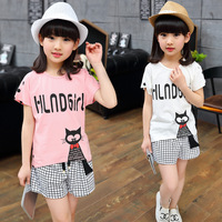 2017 Summer New Girls Short Sleeve Cat Set Children Summer Cool Girls Clothing Sets 4 5 6 7 8 9 10 11 12 Years Old Pullovers