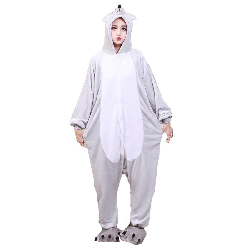 Soft Adult Onesies Mouse Cartoon Animal Pajamas Unisex Men Pyjamas Gray Party Jumpsuit Warm Flannel Winter Funny Sleep Kigurumi