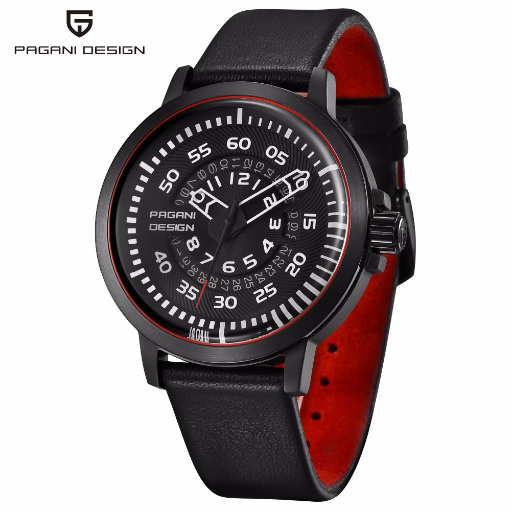 PAGANI DESIGN Chronograph Mens Watches Top Brand Luxury Waterproof Leather Quartz-Watch Men Sport Watch Male Clock Reloj Hombre pagani design mens watch fashion luxury brand clock male casual sport wristwatch men pirate skull style quartz watch reloj hombe