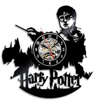 Harry Potter Wall Clock Modern Design Vinyl CD Record Clocks Mute Quartz Black Hollow Classic Wall Watch Home Decor 12 inch