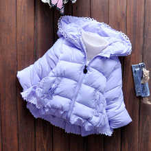 Kids Girls Down Parkas 2018 Winter Baby Clothing Solid Thicken Tops Coats Children Outwear For 2-8t Cotton Child Clothes 4dp023