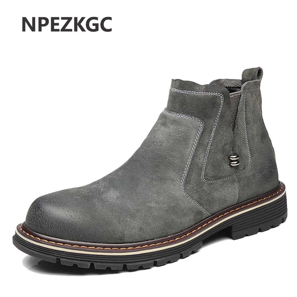 Autumn Fashion Casual For Men Ankle Chelsea Boots Male Shoes Cow Suede Leather Quality Slip Ons Motorcycle Man Boots okhotcn vintage men chelsea boots genuine leather suede rome style man ankle boots zipper male casual buckle shoes sapato botas