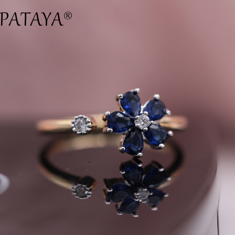 PATAYA New Arrivals Brand Up Open Rings Women Wedding Jewelry AAA Sunflower Dark Blue Natural Zircon Ring 585 Rose Gold Ring