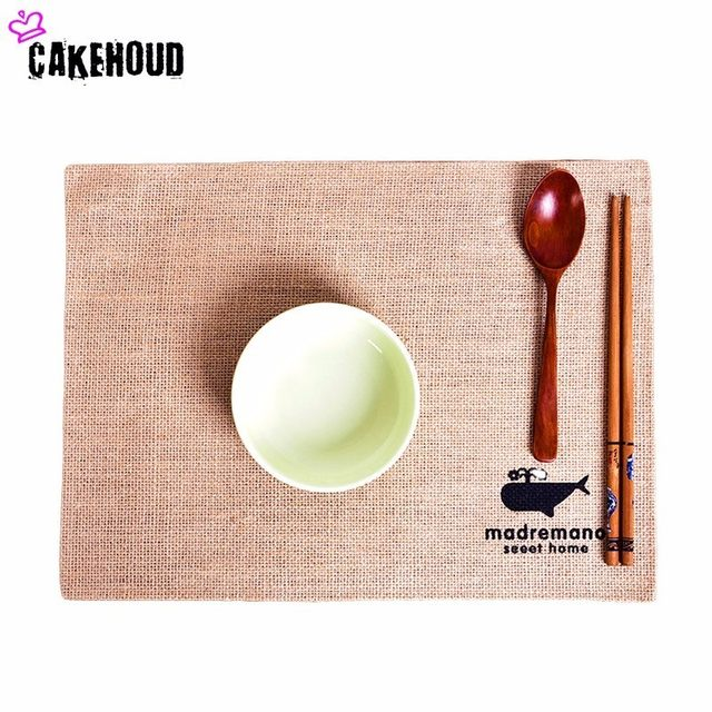 CAKEHOUD Japanese PE Film Jute Placemats Pastoral Table Mats Kitchen Dining  Placemats Country Natural Jute Decor