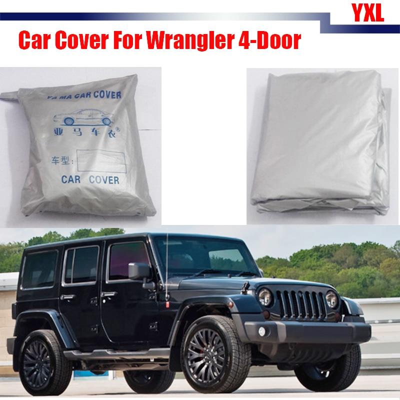 Cawanerl Car Sun Snow Rain Resistant Cover Anti UV Scratch Sun Shade For Jeep Wrangler 4