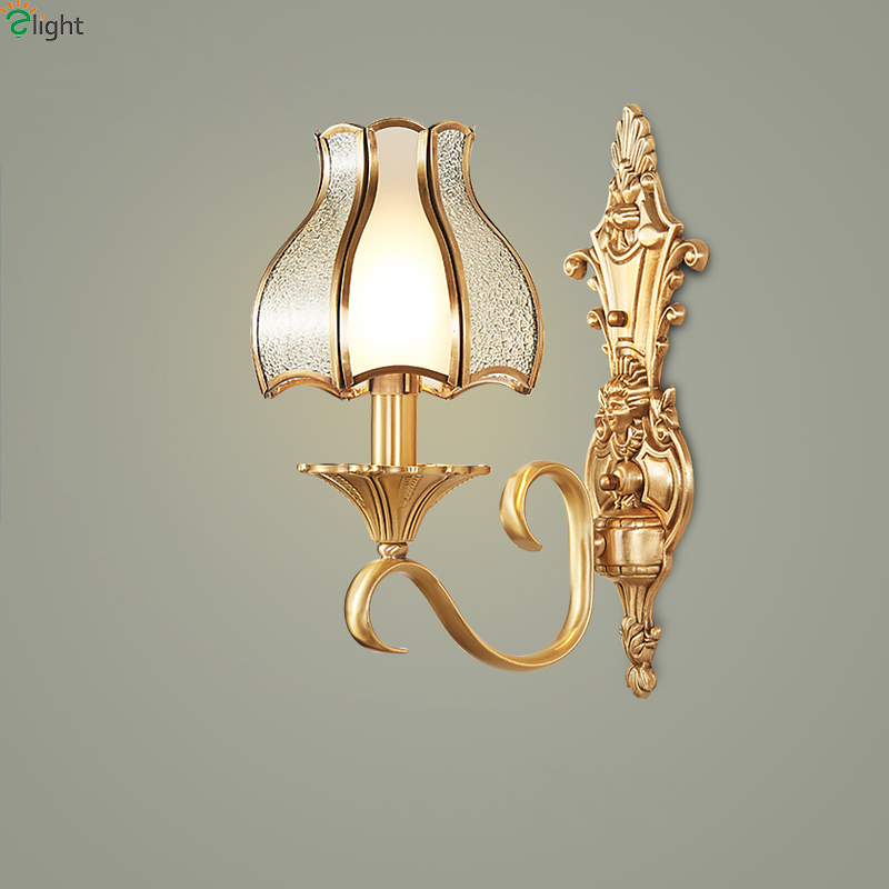 Europe Retro Lustre Copper Led Wall Lights Fixtures Simple Glass Bedroom Led Wall Lamp Luminarias Wall Lighting Light Lamparas europe retro lustre solid copper led wall lamp luminarias simple fabric shades bedroom led wall lights fixtures foyer wall light