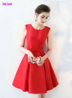 Gorgeous Red Cocktail Dresses 2018 New Sexy Scoop Zipper Appliques Knee Lingth Homecoming Dresses Short Cocktail Prom Party Gown