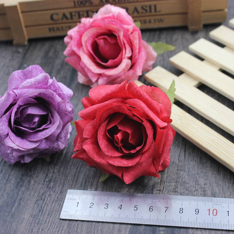 3 PCS lot 7cm Multicolor Artificial rose head Use For Wedding Decoration DIY Wreaths Craft Gift Supplies in Artificial Dried Flowers from Home Garden