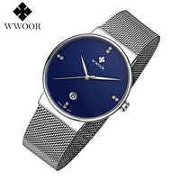 WWOOR Men Watch Luxury Brand High Quality Analog Quartz Watches Ultra Thin Stainless Steel Mesh Band