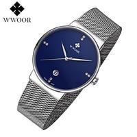 WWOOR Men Watch Luxury Brand High Quality Analog Quartz Watches Ultra Thin Stainless Steel Mesh Band