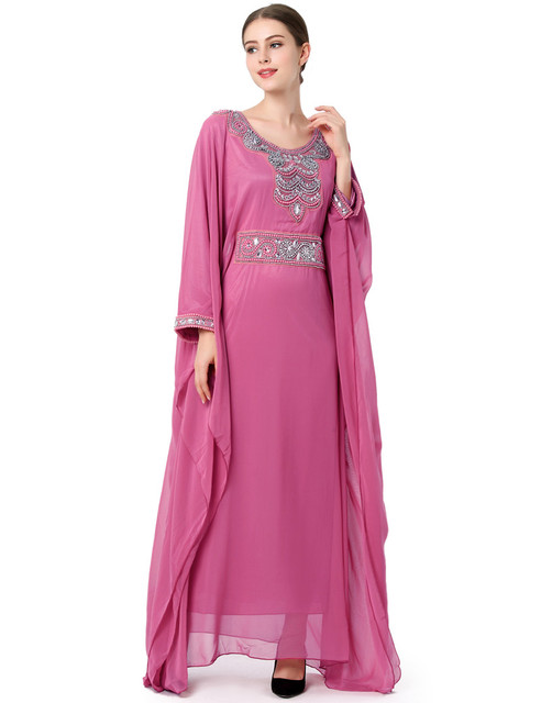 2982d4c5f4b12e Fashion Embroidery long sleeve muslim dress gown Dubai moroccan Kaftan  clothing Caftan Islamic women Abaya Turkish arabic dress