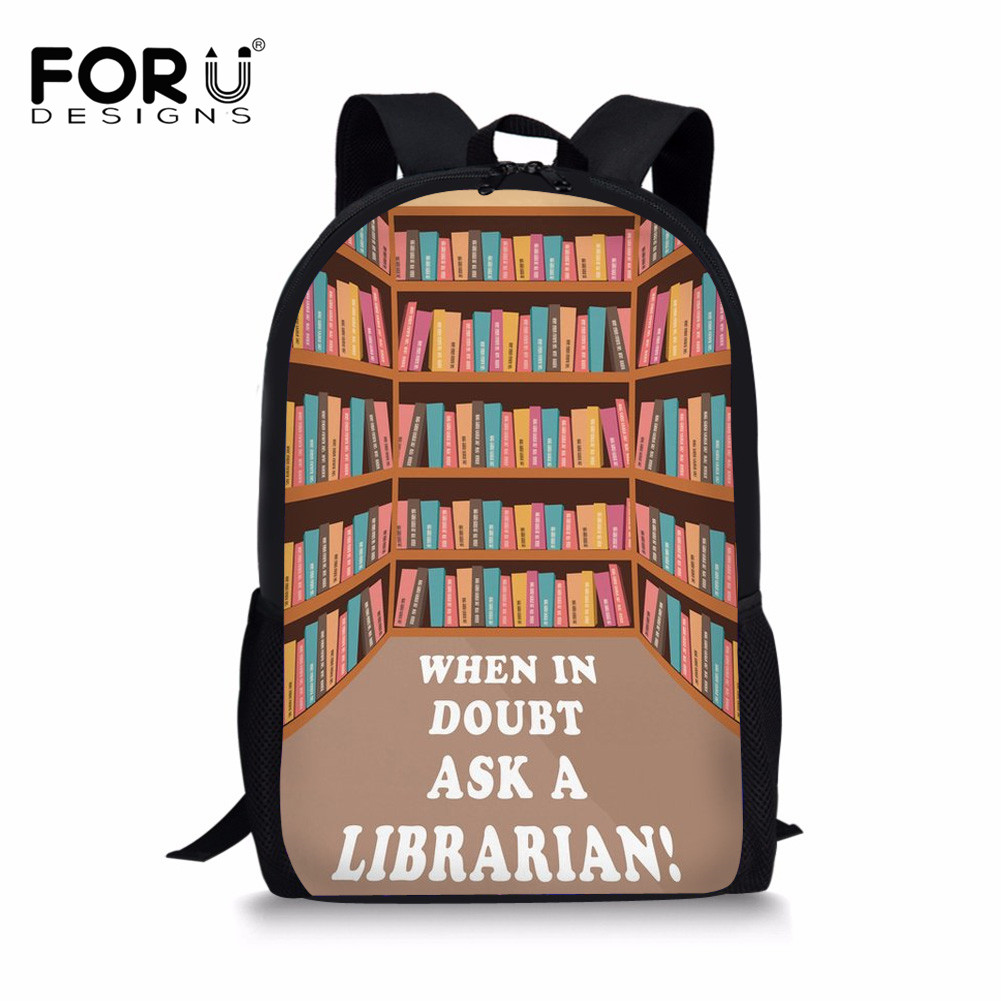 FORUDESIGNS Children School Bags 3 pcs/set Librarian Life Printing Kids Schoolbag for Girls Orthopedic Backpack Bookbag Mochila